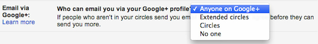 Opt out Google Plus Mail