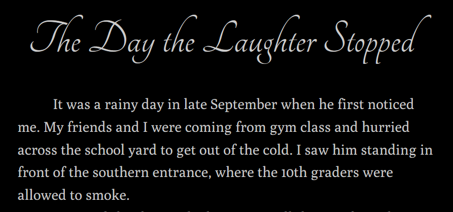 The day the laughter stopped - title